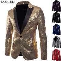 Shiny Gold Sequin Glitter Embellished Blazer Jacket Men Nightclub Prom Suit Blazer Men Costume Homme Stage Clothes For singers