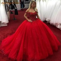 Red Quinceanera Dresses Ball Gown Long Prom Party Online Princess for Prom Sweet Sixteen 16 Dress vestidos de 15 anos 2019
