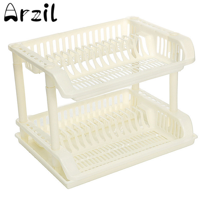 2 Layer Plastic Dish Drainer Rack Plate Bowl Cutlery Utensil Cup Drying Racks Home Kitchen Organiser  sc 1 st  AliExpress.com & 2 Layer Plastic Dish Drainer Rack Plate Bowl Cutlery Utensil Cup ...