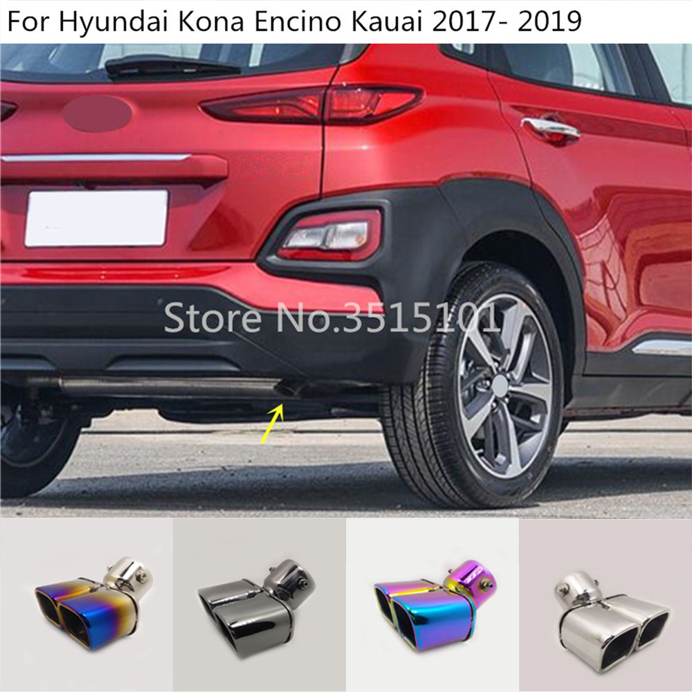 Car Styling Cover Stainless Steel Muffler Pipe Outlet Dedicate Exhaust Tip Tail For Hyundai Kona Encino Kauai 2017 2018 2019