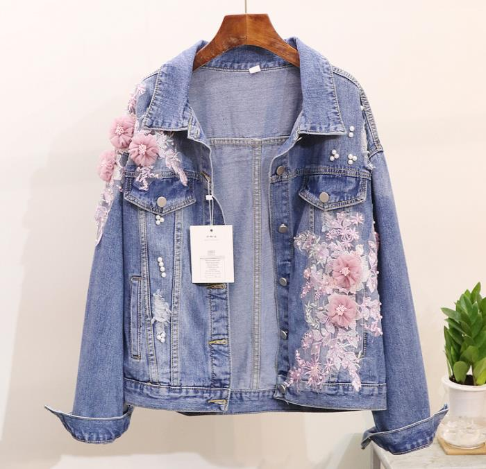 2018 Spring Autumn Jeans Jacket Coat Woman New Heavy Stereo Pink Flower Embroidered Hole Denim Jackets