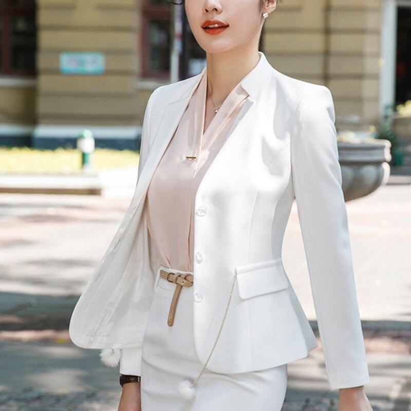 Suits & Sets Autumn Women Blazer Long Sleeve Feminine Office Lady Elegant Temperament Solid Black Blue Formal Suit Work Jacket Plus 7xl 8xl