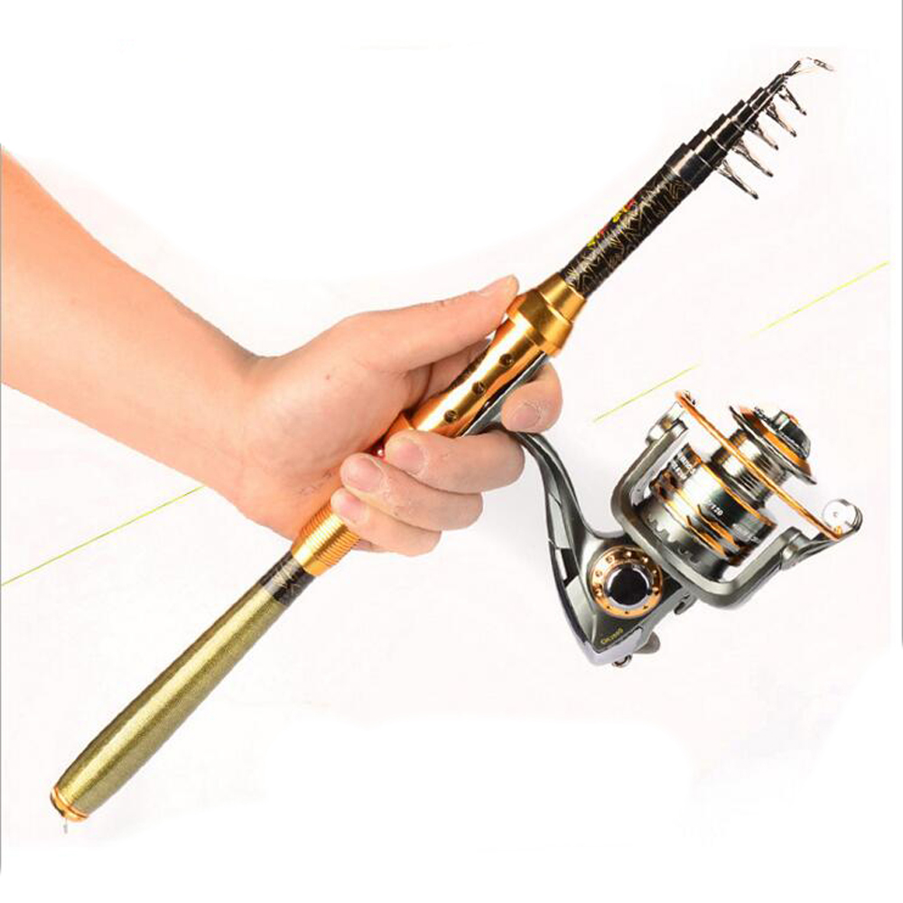 1 8 3m folding mini telescopic fishing pole combo carbon for Folding fishing rod