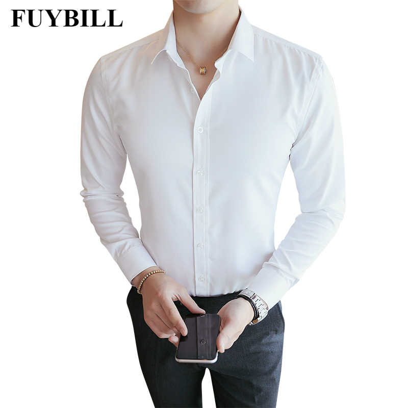 FuyBill 2019 Solid Color Shirt Long Sleeve Men's Korean Youth Single Breasted Polyester Slim Business Casual Solid Color Shirt