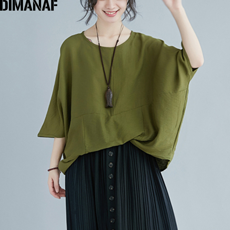 DIMANAF Plus Size Women Blouse Shirt Summer Lady Basic Tops Tee Cotton Linen Big Size Batwing Sleeve Loose Casual Female Clothes