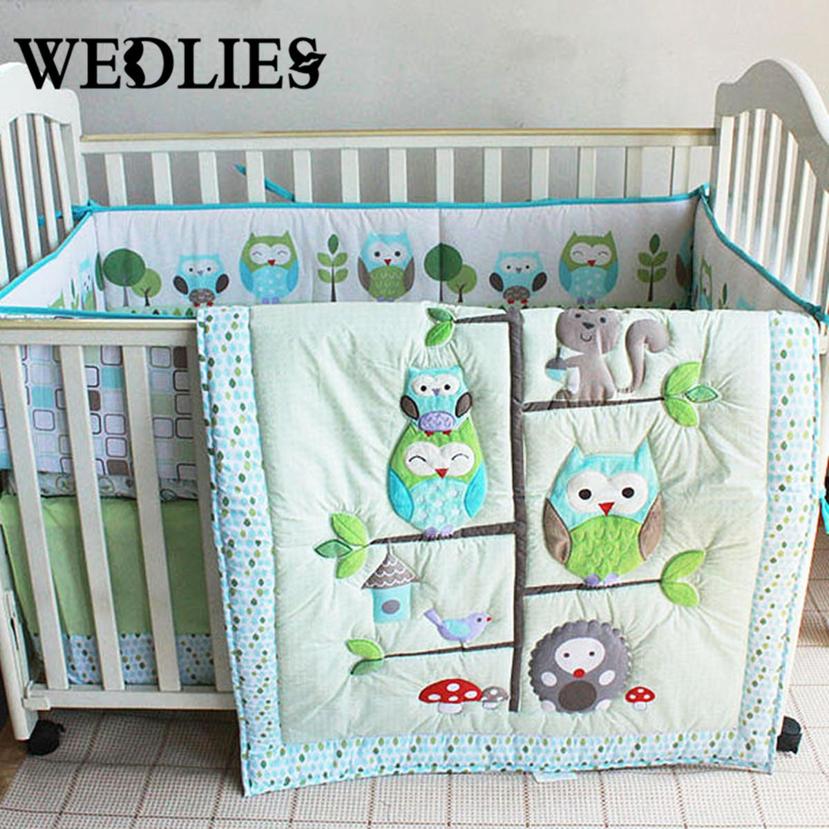 Baby bed online shopping - 7pcs Cotton Baby Bedding Set Owl Family Nursery Cartoon Bed With Quilt Bumper Sheet Fitted Cover
