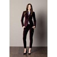 Fashion Grape Tuxedo Women's Tuxedo Lapel Suit For Women's Two Buttons Office Business Women's Velvet Suit Uniform 2 Piece Set