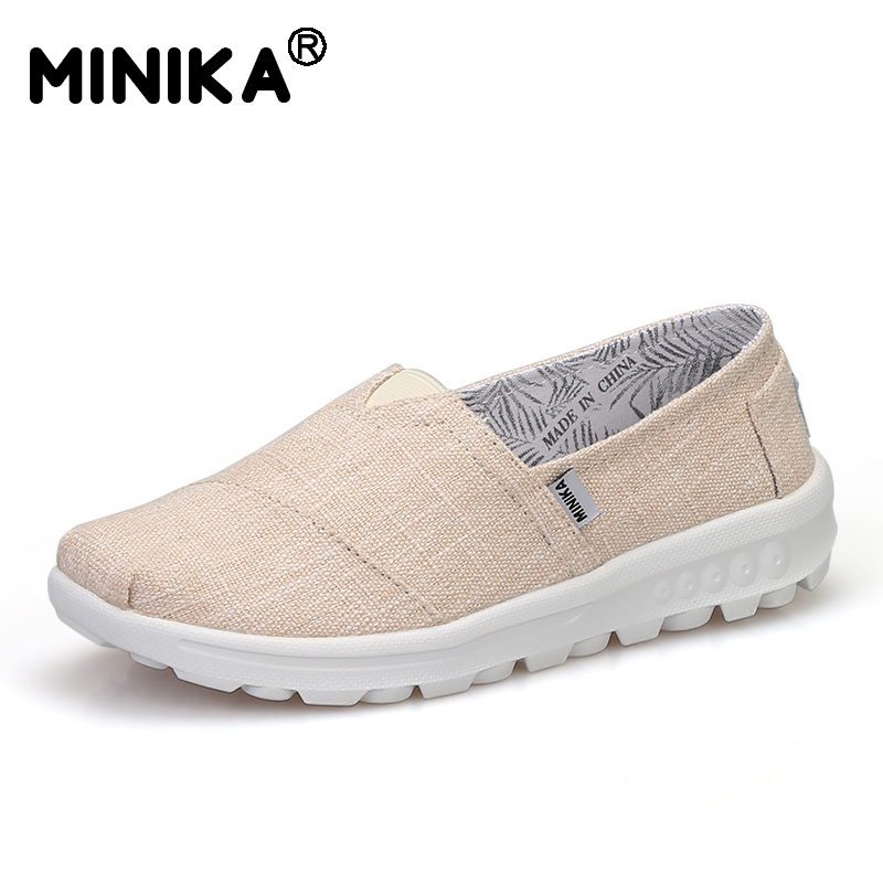Minika 2017 Women Flat Shoes Breathable Platform Casual Slip On Shallow Shoes Woman Lightweight Comfortable Walking Canvas Shoes fashion embroidery flat platform shoes women casual shoes female soft breathable walking cute students canvas shoes tufli tenis