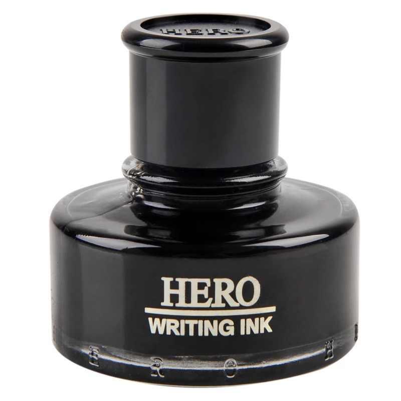 Черные чернила с перьевой ручкой стеклянная бутылка 50 мл HERO 440 для письма ручки