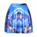 NEW 1204 Summer Sexy Girl Movie STAR WARS R2D2 Galaxy Printed Cheering Squad Tutu Skater Women Mini Pleated Skirt Plus Size