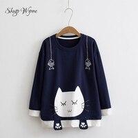 Shugo Wynne 2017 Autumn New Women Cute Cat Print O Neck Long Sleeve Mori Girl Pullover