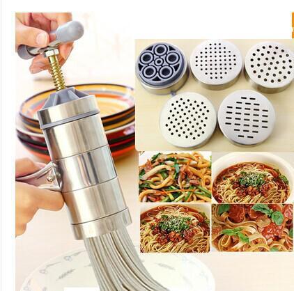 Stainless Steel Manual Noodle Maker <font><b>Pastas</b></font> Making Machine Presse Spaetzle Maker Fruits Juicer Including 5 Different Molds