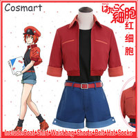 New 2018 Amine Cells At Work Erythrocite Red Blood Cell Cosplay Costume Hataraku Saibou For Halloween Carnival full set Freeship