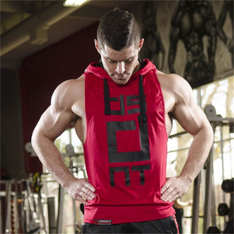 YEMEKE Cotton Tank Tops Hoodie Fitness Mens Bodybuilding Workout Tee fashion Muscle Male Activewear Red black white 3