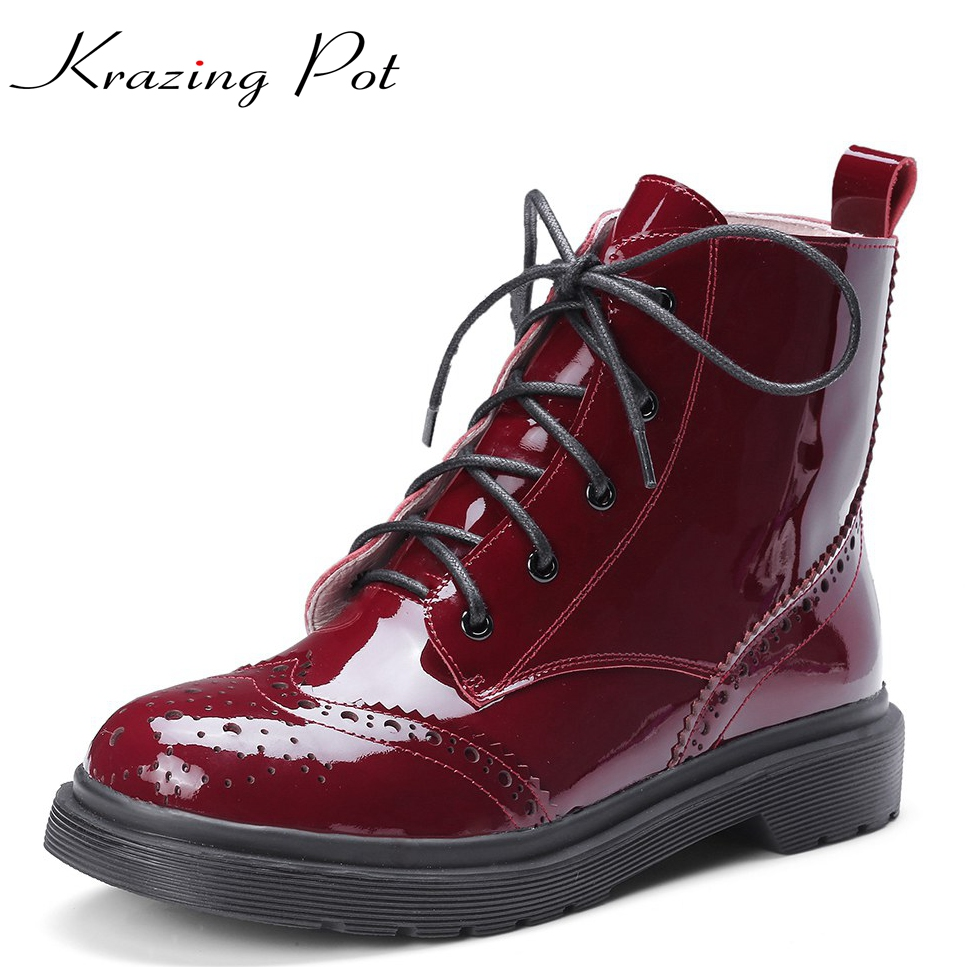 Krazing Pot genuine leather lace up boots winter shoes warm low heels European round toe women punk rock style riding boots L16 free shipping south korean style winter new nubuck fashion high heels round toe side zipper lace up riding boots women boots