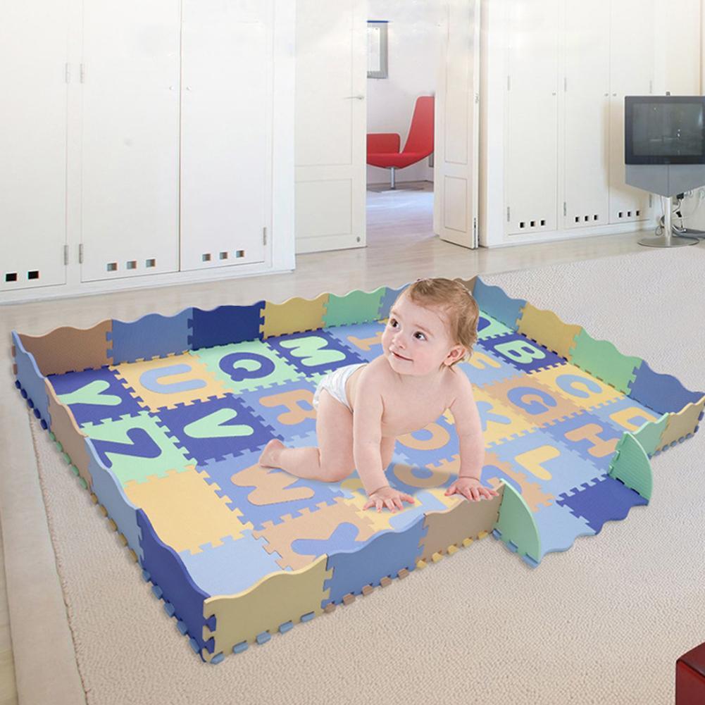 54 pièces EVA anglais lettre couture tapis enfants antidérapant résistant à l'humidité jouer tapis 30x30 cm carré infantile ramper couverture
