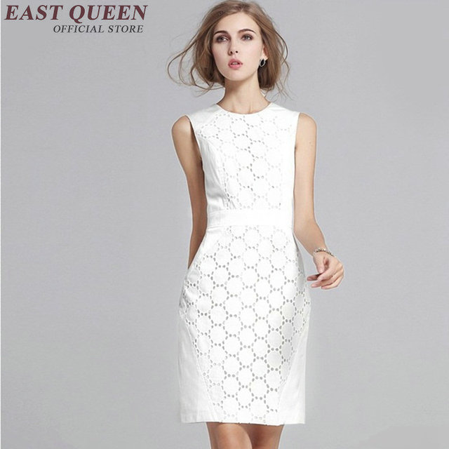 8a4522db8c17 New arrival short white sundress solid white lace sundress summer dress  sleeveless women business casual clothing KK1046 HQ