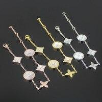 Moda Klasyczny Okrągły Plac Clover bransoletka z biały shell wypełnione dla kobiet charm biżuteria tytanu stali LOGO marki