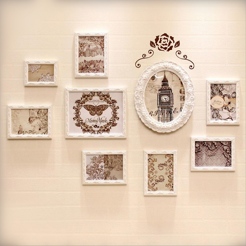 9 Stücke Holz Weiß Familie Bilderrahmen Kombination Moderne Wand ...
