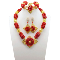 Real Crystal Bridal Beads Jewelry Set Indian Wedding Red Necklace Earrings Set Gold Jewelry Set for African Wedding