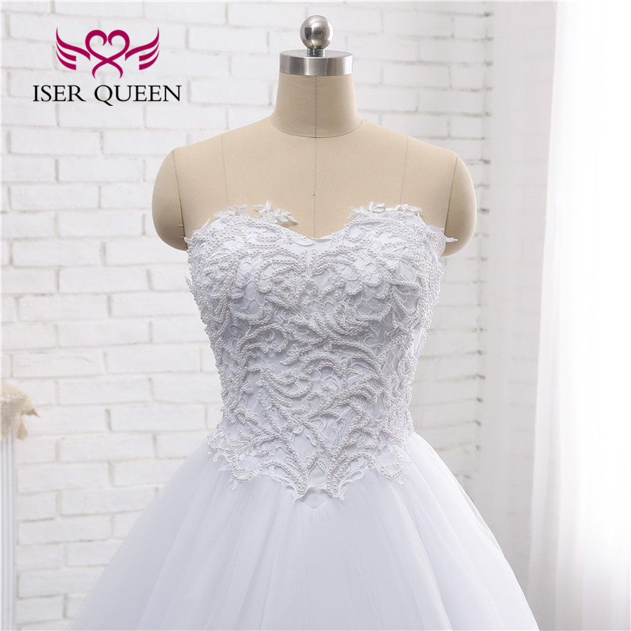 Wedding Ball Gowns Sweetheart Neckline: Pearls Beaded Simple Europe Wedding Dress 2019 Ball Gown