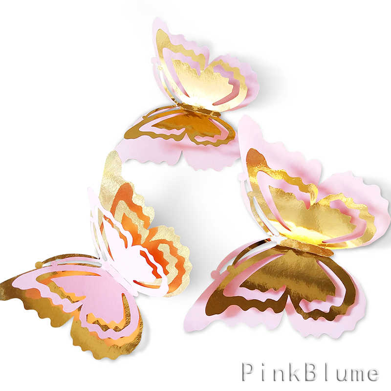 27pcs Glitter Gold Pink 3D Hollow Double Layer Wings Butterfly Wall Stickers Decal for Living Room Kids Girls Bedroom Decoration