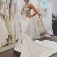 2018 New Arrive Sexy Mermaid Wedding Dresses Fashion High Quality Lace Bridal Gowns Backless Long Wedding Gowns