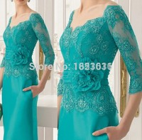 Mint Green 2017 Mother Of The Bride Dresses Sheath V Neck 3 4 Sleeves Lace Long