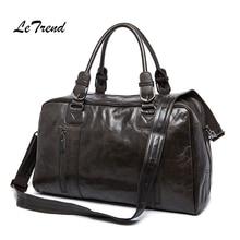LeTrend Men's Business Travel Bag Genuine Leather Package Large Capacity Crossed Shoulder bags Vintage Trolley Suitcase Luggage