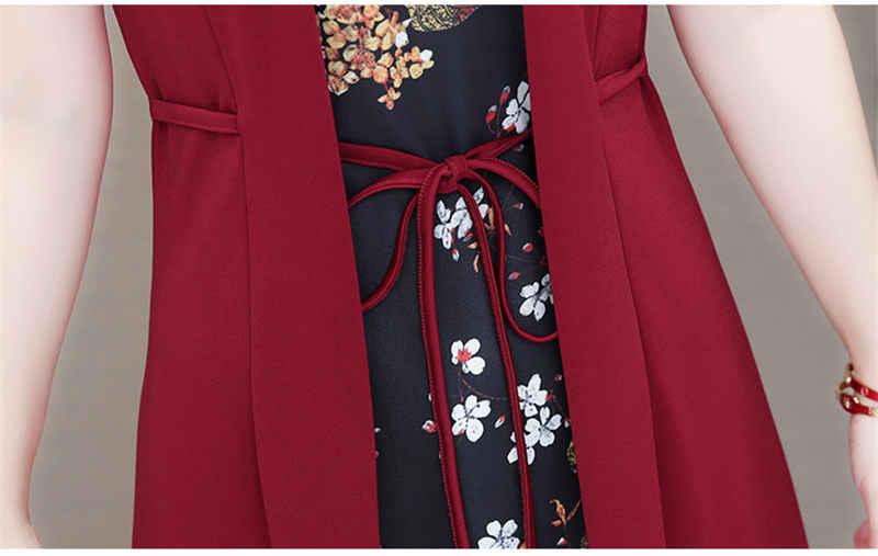 Grande taille élégante rouge en mousseline de soie imprimé Floral robe femmes d'été o-cou à manches courtes robes femme Vestidos Mujer faux deux pièces
