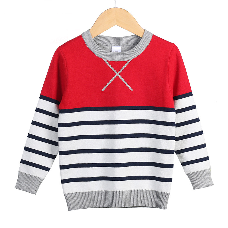 Boys Knitted Sweaters Striped Autumn <font><b>Winter</b></font> Baby Girl Boy Soft Knitwear Kids <font><b>Clothes</b></font> Polo Cotton Sweater <font><b>For</b></font> 3 4 5 6 <font><b>8</b></font> 10 <font><b>Years</b></font> image
