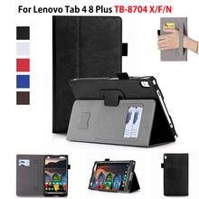 """Case Voor Lenovo Tab 4 8 Plus TB 8704X Gevallen TB 8704F TB 8704N 8 """"Cover Funda Tablet Lederen Hand Holder Stand shell + Film + Pen"""