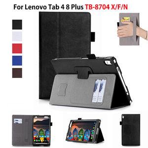 """Image 1 - Kılıf için Lenovo Tab 4 8 artı TB 8704X kılıfları TB 8704F TB 8704N 8 """"kapak Funda Tablet deri el tutucu standı kabuk + Film + kalem"""