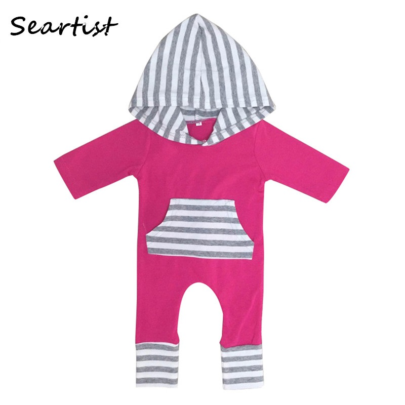 Baby Girls Winter Harem Rompers Girl Autumn Hooded Jumpsuits Newborn Tank Fashion Jumper Girls Striped Pajamas 2018 46G