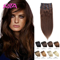 70g-200g Full Head Set Brazilian Virgin Hair Clip In Human Hair Extensions 10 Color Remy Human Hair Clip In Hair Extensions