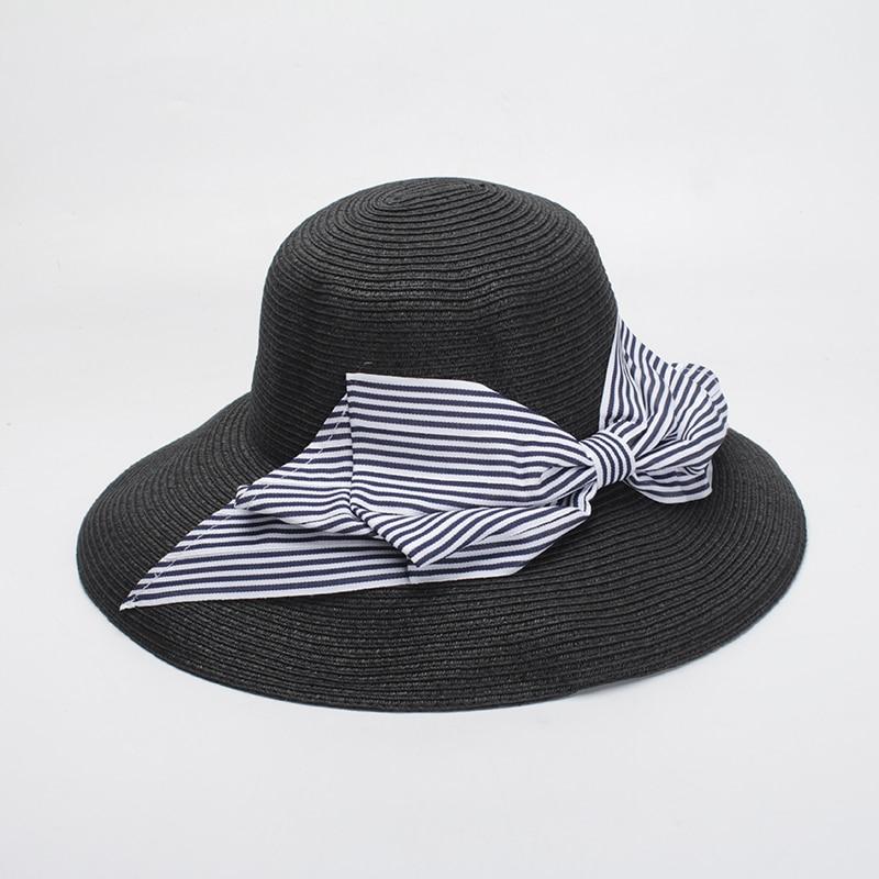 ROSELUOSI Women Wide Brim Sun Hats 2018 Summer Strip Bowknot Straw Hats  Female Beach Hats Chapeau Femme-in Sun Hats from Apparel Accessories on ... a452e5f41527