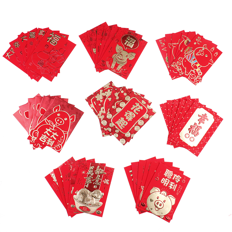 6pcs/Set Chinese Tradition Hongbao New year Red Envelope ...