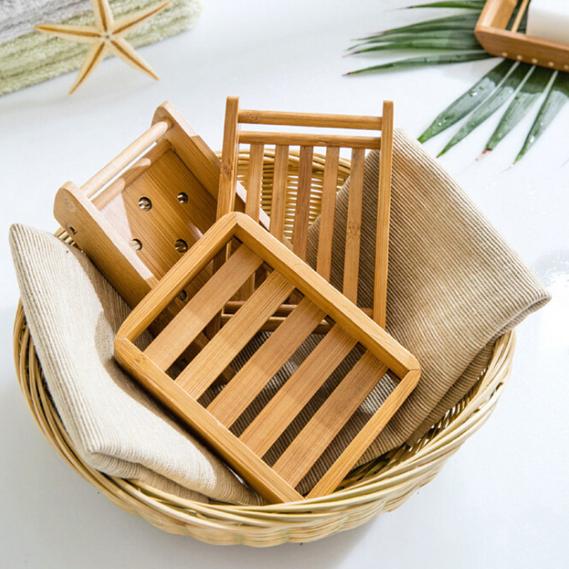 Creative Simple Bamboo Manual Drain Soap Box Bathroom Bathroom Japanese Style Soap Soap Box Portable Soap Dishes
