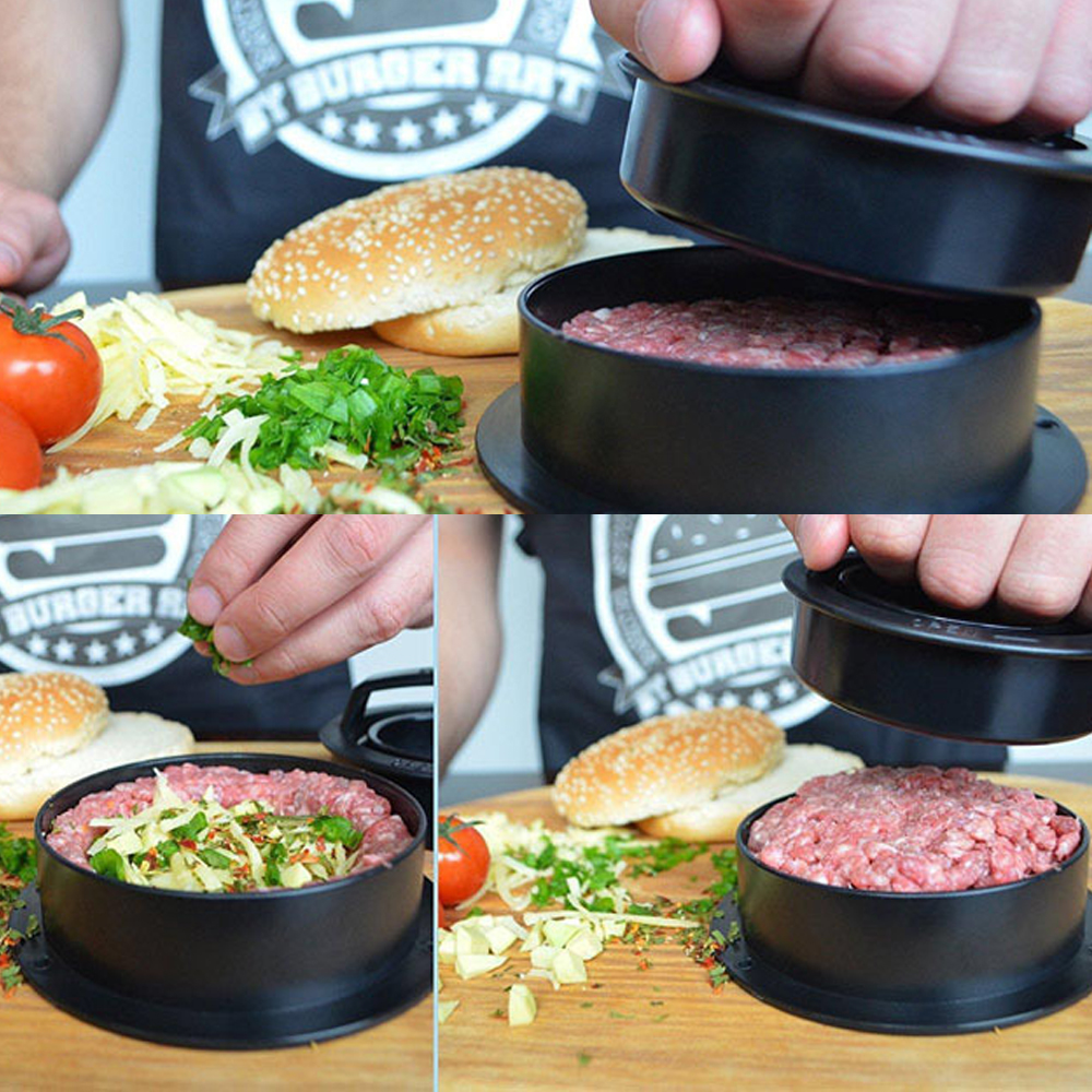 Meat Pie Press Stuffed Burger Press Hamburger Mold Maker with Baking Paper Liners Patty Pastry Tools BBQ Accessories (11)