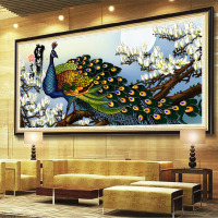 Rich Peacock DIY 5D Full DIY Round Diamond Painting Square Mosaics Cross Stitch Embroidery Kit Stones