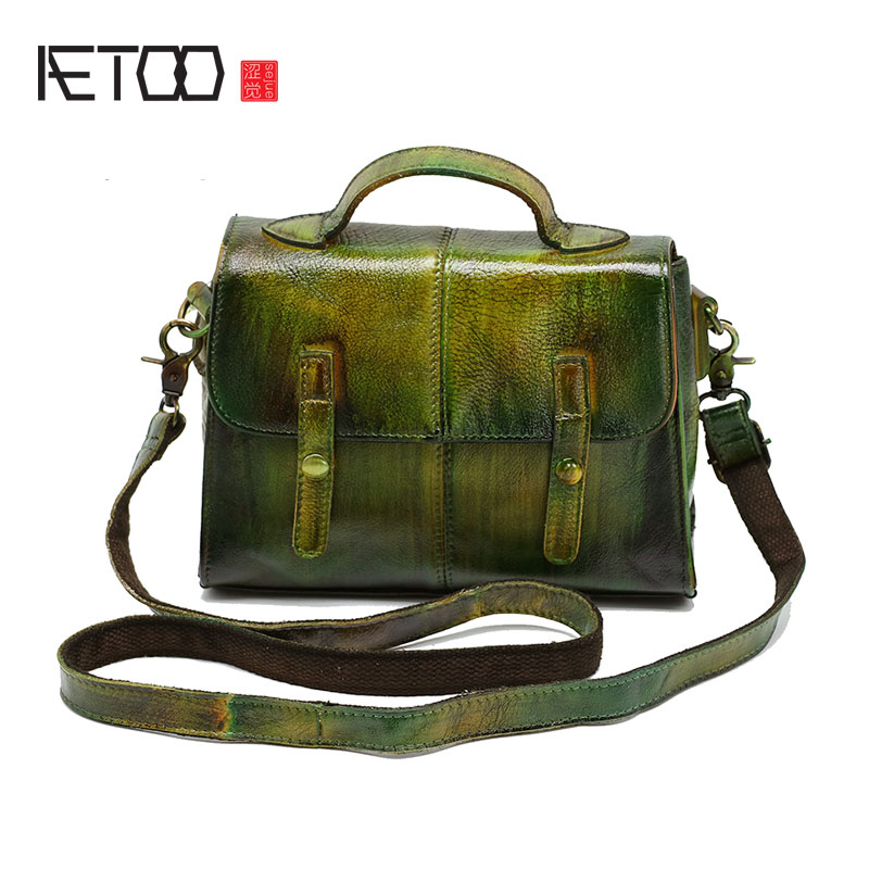 AETOO Bag female new Japan and South Korea retro bag female shoulder Messenger bag female handbag leather handbags cowhide bag aetoo pure leather europe and the united states japan and south korea fashion retro bag leather leather casual daily travel back