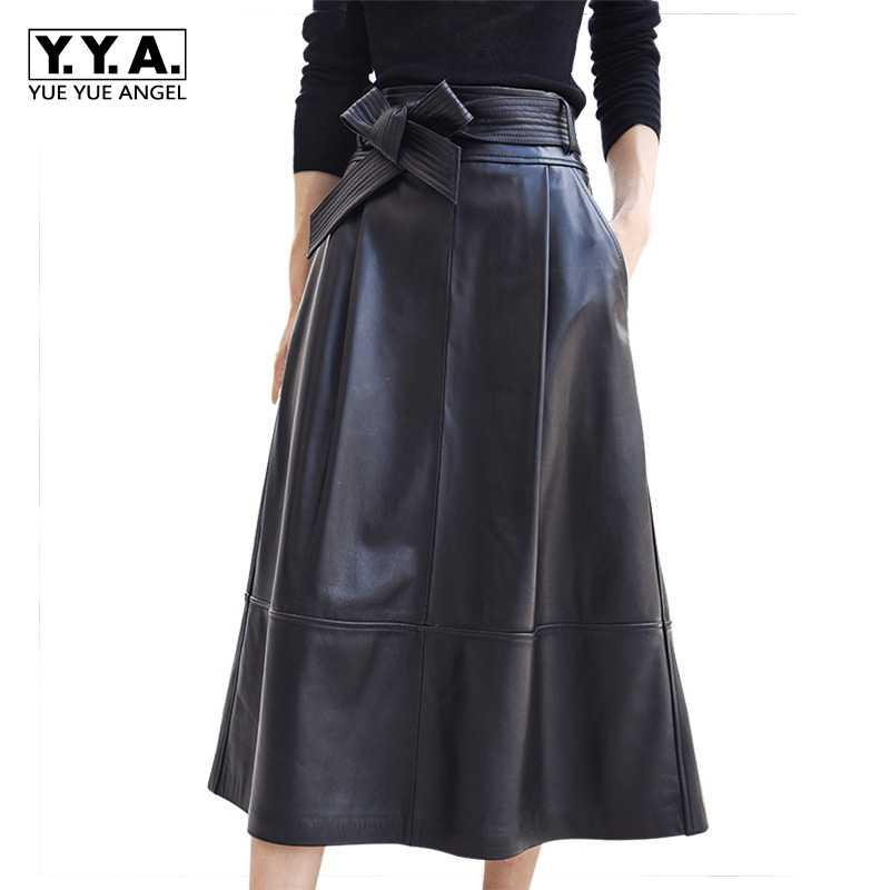 00b55292c180 2019 новые модные женские туфли юбки для женщин женские пояса из натуральной  кожи овчины Saia Falda