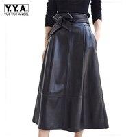2018 New Fashion Women Skirts Female Genuine Leather Sheepskin Saia Falda Bow With Belt Knee Length Skirt Office Lady Plus Size