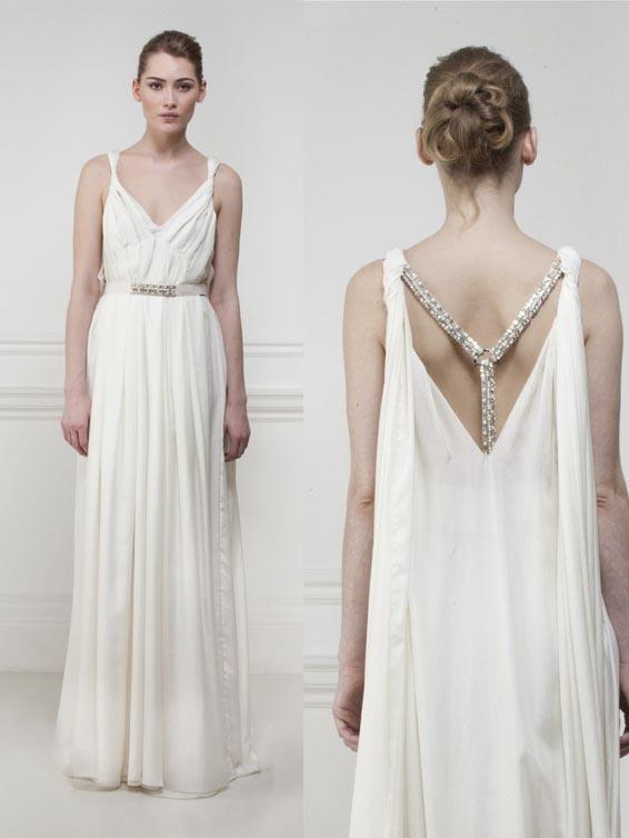 2016 Greek Style Wedding Dresses Grecian Crystal Criss Cross Wattean ...