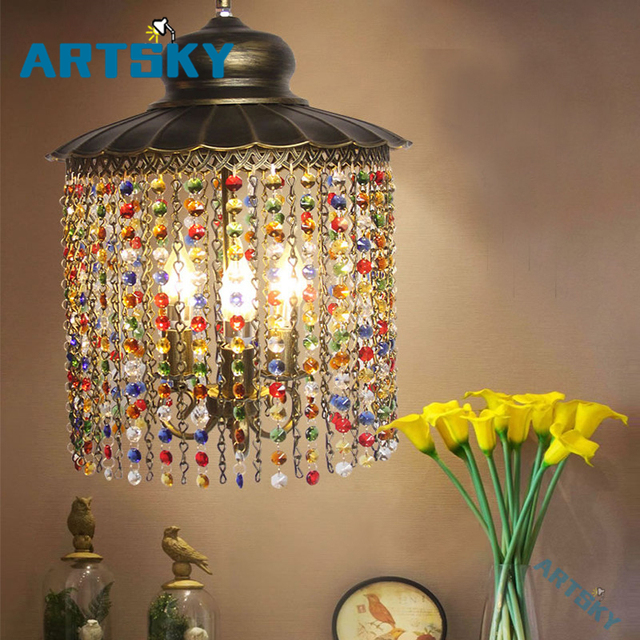 Bohemia Crystal Pendant Lamps Lighting Southeast Asia Color Crystal  Chandelier for Bedroom Bar Lamp Hallway Aisle Lights-in Pendant Lights from  Lights ...