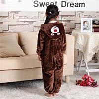Fashion Girl Pajamas Animal Bear Pattern Children Pajamas Set Flannel Stitch Kids Cartoon Cute Animal Cosplay
