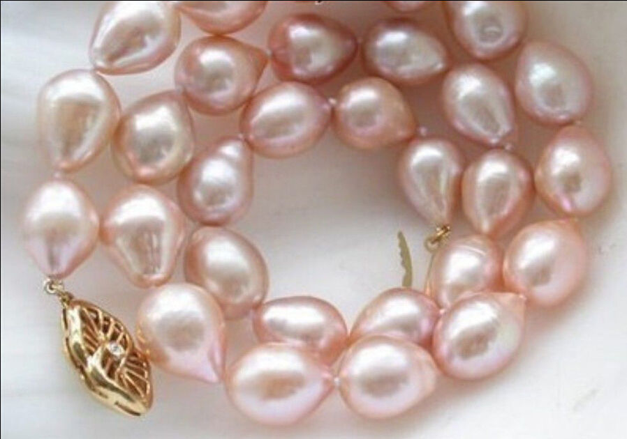 HOT 1811-13MM AAA NATURAL AKOYA PINK PEARL NECKLACE 925silver GOLD CLASPHOT 1811-13MM AAA NATURAL AKOYA PINK PEARL NECKLACE 925silver GOLD CLASP