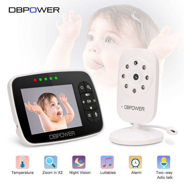 DBPOWER 2.4Ghz Wireless 3.5 inch Electronica Wireless Baby Monitor 2 Way Audio 5M IR Temperature Lullabies Portable Baby Camera