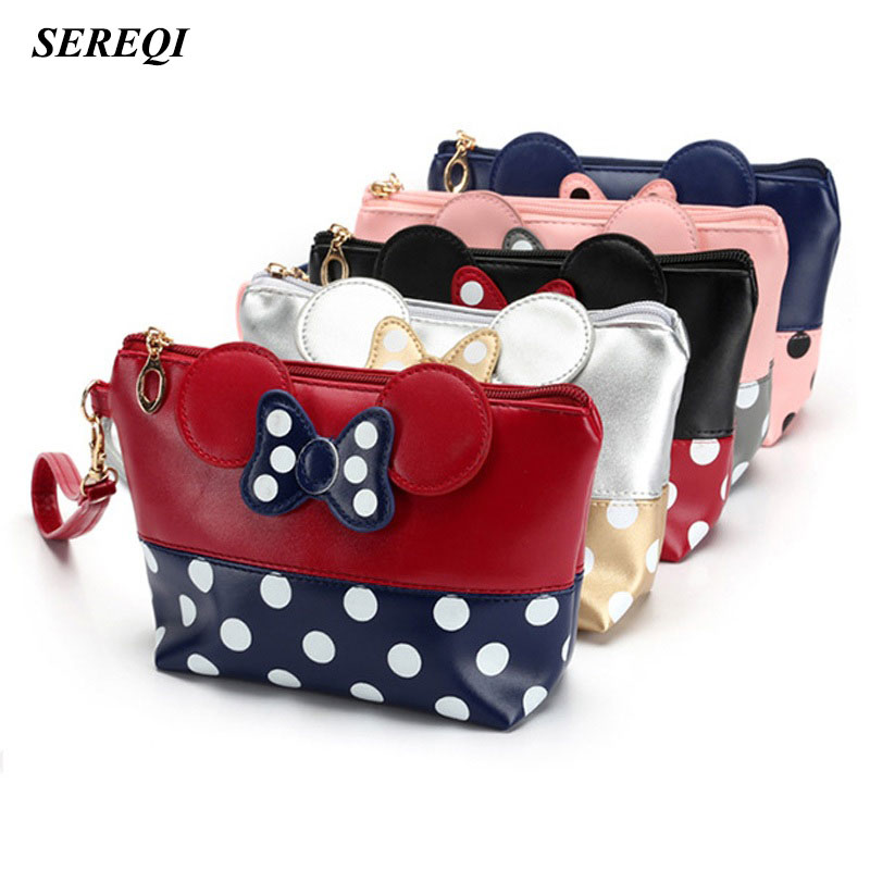 SEREQI Excellent Quality Dorp shipping Mickey Mouse Storage Bag PU Travel Storage Organizer Cosmetic Bag Toiletry Kits Holder