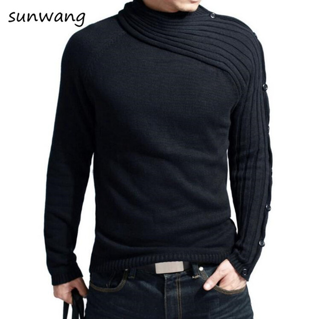 2017 Unique Designer fashion turtleneck Mens sweater cotton casual ...